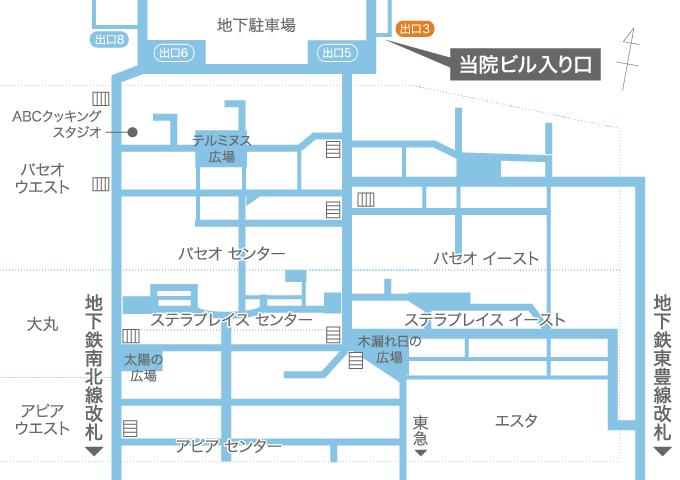 地下からのアクセス地図